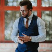 grooms accessories, tie, watch