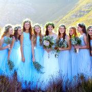 bridesmaids dresses, flower crowns
