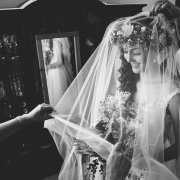 bride, flower crown, veil