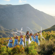 bride and bridesmaids, mountain view
