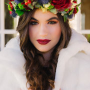 flower crown, hair and makeup, fur coat