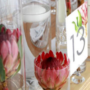 candle, proteas, table number, vase, floating candle