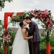 bride & groom, floral arches