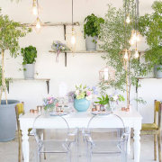 floral accents, floral arrangements, floral centrepiece, geometric hanging decor, long tables, ghost chair