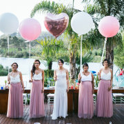 balloons, bride and bridesmaids