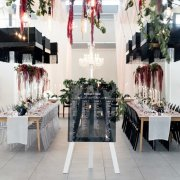 floral decor, hanging decor, lighting, wedding decor