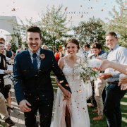 bride and groom, bride and groom, confetti, petals - Kronenburg Estate