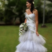 bride, wedding dress, bouquet, orchid