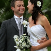 bouquet, boutonniere, orchid, wedding dress