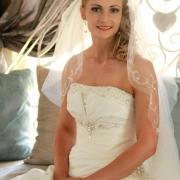 bride, wedding dress, beaded, makeup, veil