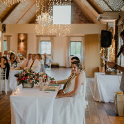 chandeliers, fairy lights, hanging decor, wedding reception, affordable venues - Hudson\