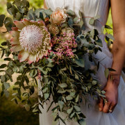 bouquet, greenery, proteas