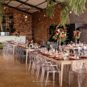 floral centrepieces, hanging greenery, wedding decor, wedding decor & furniture - Bakenhof Winelands Venue