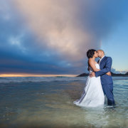 beach, bride and groom, feature shot