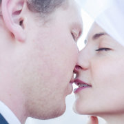 bride and groom, makeup, kiss - Katie Mayhew Photography