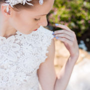 bride, headpiece, nails, wedding dress