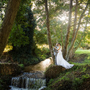 bride and groom, forest, waterfall