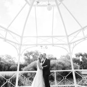 arch, black and white, bride and groom, gazebo - Katie Mayhew Photography