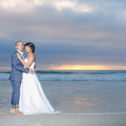 beach, bride and groom, dress, suit, feature shot - Katie Mayhew Photography