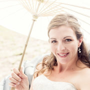 bride, makeup, parasol - Katie Mayhew Photography