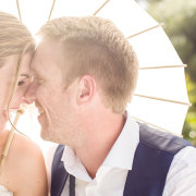 bride and groom, parasol - Katie Mayhew Photography