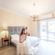 accommodation, accommodation, bedroom, wedding dress - Katie Mayhew Photography
