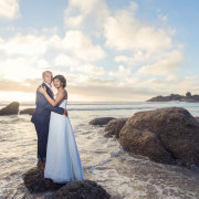 beach, bride and groom