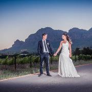 bride and groom, vineyard, suit, wedding dress