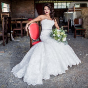 bouquet, chair, hairstyle, lace, wedding dress