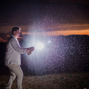 confetti, groom, suit