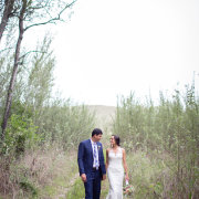bride and groom, dress, forest, suit