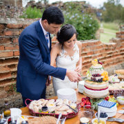 bride and groom, cake