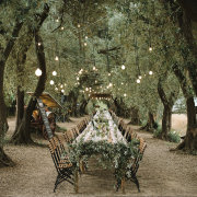 hanging decor, hanging lights, naked bulbs, outdoor reception - Silk Music