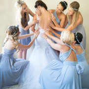 blue, bridesmaids, dresses, hair accessories