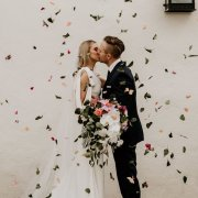 bouquets, bridal bouquet, bride and groom, bride and groom, bride and groom, confetti, kiss, kiss, kiss - Anna Botany