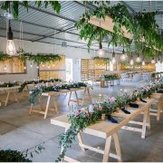 floral runner, hanging greenery - Goedgedacht Game Ranch