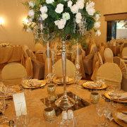 chair covers, flower centerpiece