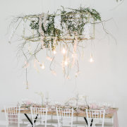 hanging bulbs, hanging decor, hanging greenery, naked bulbs - Charm & Perfection Planning