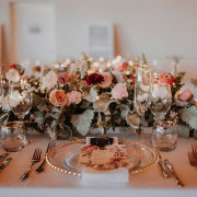 floral centrepiece, table setting, table setting - Sea Trader