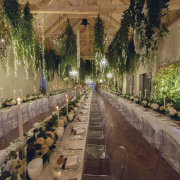fairy lights, floral runner, hanging greenery, hanging lights - John Henry Wedding Photographer