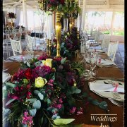floral centrepieces, floral runner - Weddings By Francois