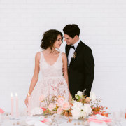 bride and groom, bride and groom, floral centrepieces - Quoin Rock
