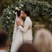 bride and groom, bride and groom, bride and groom, ceremony, first kiss, outdoor ceremony - Quoin Rock