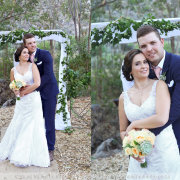 bouquet, bride and groom, arch