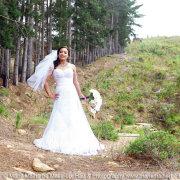 bouquet, forest, wedding dress - Marié Malherbe Makeup, Hair & Photography