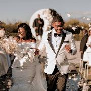 bride and groom, bride and groom, bride and groom, confetti, outdoor ceremony - Cavalli Estate