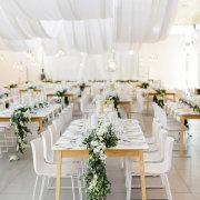 floral runner, hanging decor, naked bulbs - Cavalli Estate
