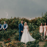 bride and groom, bride and groom, bride and groom, wedding party, overcast - Bianca Franz Photography