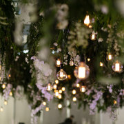hanging florals, hanging greenery, naked bulbs - Aleit Weddings