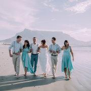 bride, bridesmaids, bridesmaids, groom, groomsmen - Lagoon Beach Hotel